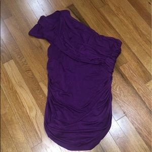🧺 Purple STUDIO Y one shoulder fitted blouse XL